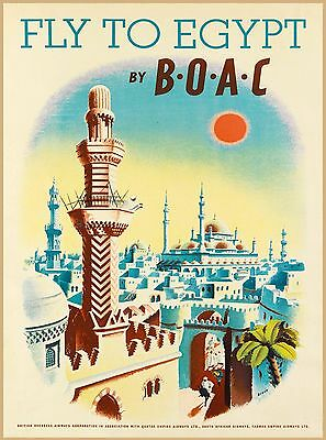 Fly to Egypt  Vintage Egyptian Airlines Travel Advertisement Art Poster Print
