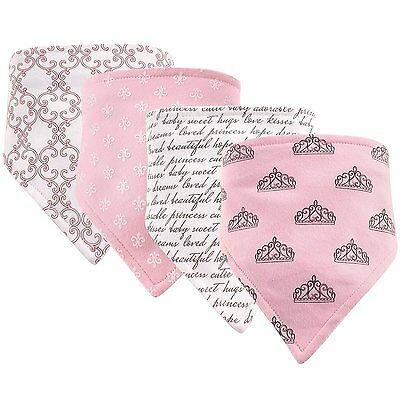 Hudson Baby Girls 4 Pack Bandana Bibs 100% Cotton Snap Closure Princess New