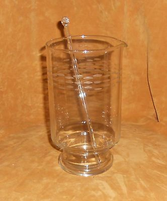 Etched Glass Martini Mixer With Glass Stir Stick - Unknown Maker