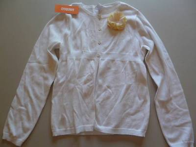 Gymboree Spring Dressy EASTER White Sweater w/Yellow Flower Size L 10-12 NEW