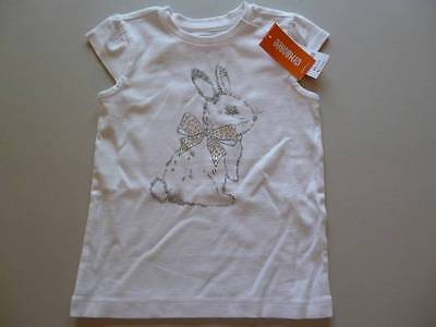 Gymboree Spring Dressy White Top Shirt Easter Bunny With Rhinestones Size 5 NEW