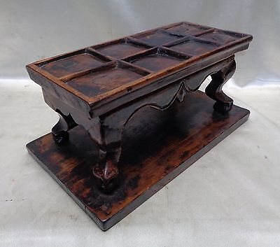 Estate Antique Wooden Miniature Squared Table w. Ornate Ball Designed Legs
