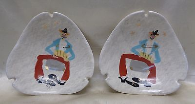Pair of Vintage Mid-Century Marc Bellaire Ashtrays w. Hand Painted Clown Design