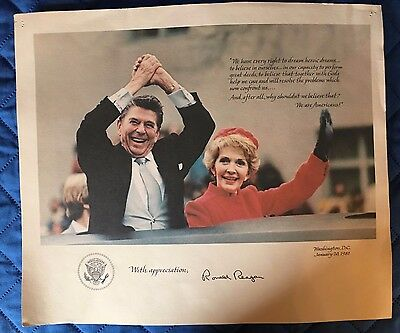 President and Mrs Reagan with appreciation 1981 Inagural Signed Print