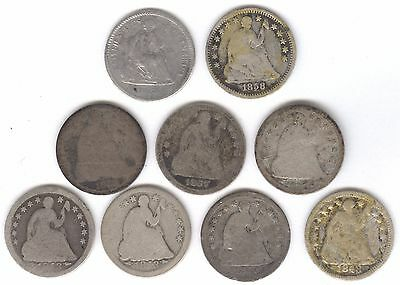 9 Different Silver Seated Liberty Half Dimes