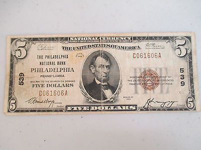 1929 $5 National Currency Note Philadelphia National Bank TYPE 1 (NS142)