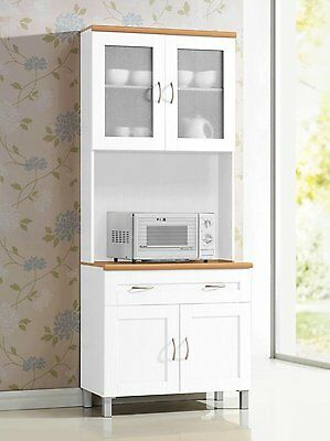 White Tall Microwave Cabinet Stand Hutch Pantry Cart Storage Cupboard  Kitchen