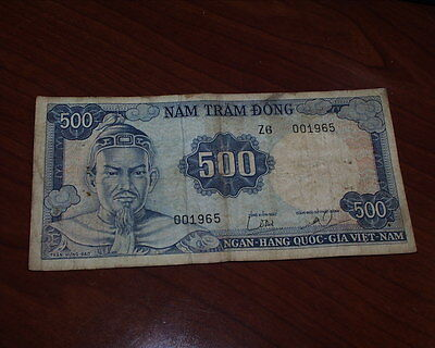 Original Vietnam War Period 1968 Svn 500 Dong Note / Bill