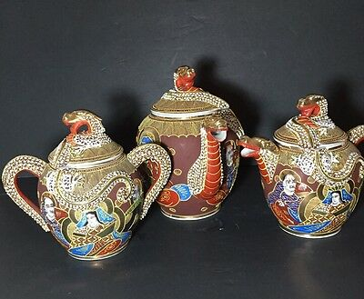 Ornate Vintage Japanese Satsuma Dragon Tea Set w/Raised Moriage Decor