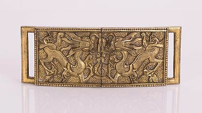 Chinese Gilt Bronze Belt Buckle With Dragon Motif