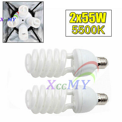 2 Pack 55W Photography Studio Daylight Energy Saving Light Bulb E27 5500K CFL UK