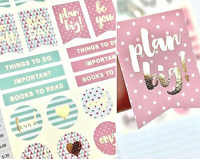 22 x Pink and Mint Planner Stickers with Gold Foil