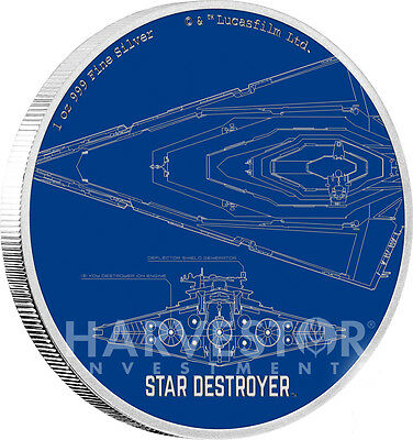 Star Wars Ships: Star Destroyer - 1 Oz. Silver Coin - Ogp Coa - Second In Series