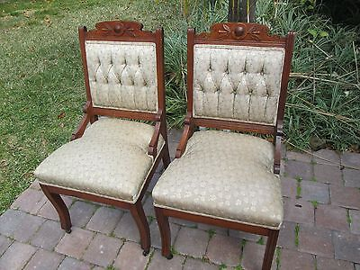 2 Antique Eastlake Walnut Carved Parlor Chairs