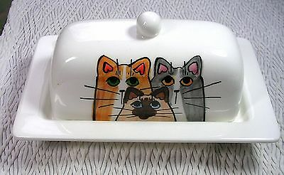 Cats On Butter Dish 2 Piece Handmade Ceramic Clay Butter Holder by Grace Smith