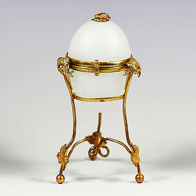 Antique French white opaline gilt ormolu hinged Egg Box Palais Royal souvenir