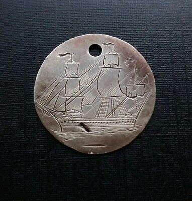 Rare Unusual Engraved Convict Pirate Galleon Spanish @1798 Charles IIII 1/2 Real