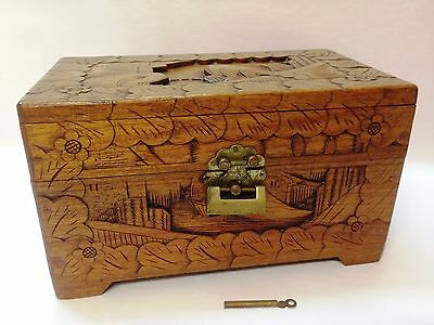 Antique Hand Carved Chinese Asian Camphor Wood Box Original Brass Lock & Key