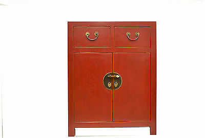 Red Chinese Wooden Storage Cabinet 2 Doors & 2 Drawers 73-15a