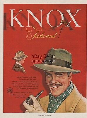 1947 Knox the Hatter Fifth Ave New York City NY Foxhound Men's Hat Fashion Ad