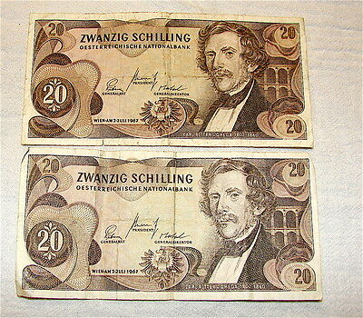 1967 Austria 20 Schilling Note, Pick 142-----Lot of 2 Notes