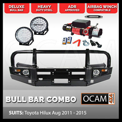 OCAM Bull Bar For Toyota Hilux 2005-15,14500 Synthetic Winch, 9inch 370w Led Lig
