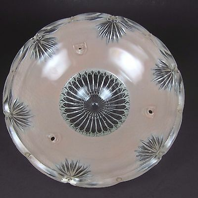 Mid Century Glass Lamp Shade 40's 50's Pink Clear Ceiling Light Vintage