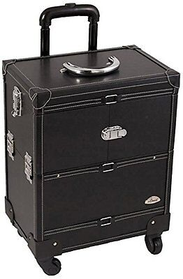 Craft Accents 3-Tiers Expandable Trays Leather Finish 4-Wheels Professional All