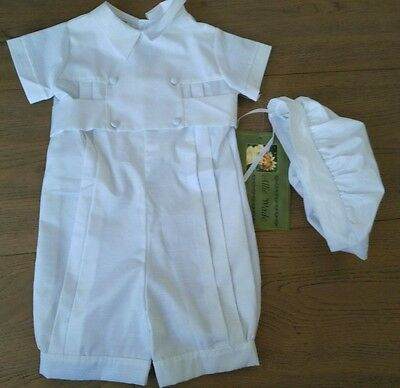 NWT Allie Wade Baby Boys White Baptism Christening Outfit Romper Suit & Hat 12 M