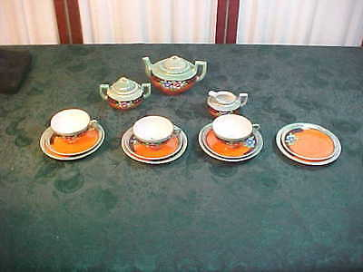 Circa 1930's-14pc Colorful Floral Designed Child's Tea Service Set