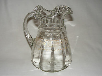 "ANTIQUE VICTORIAN HAND BLOWN ART GLASS RUFFLED RIM 9"" PITCHER JUG circa  1880"