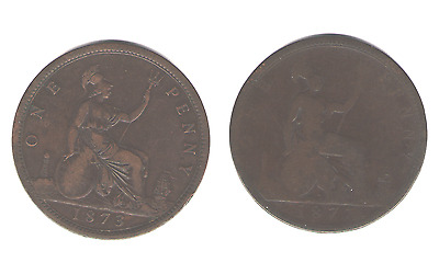 1873 & 1877 UK (Great Britain) Penny (2 Coins)