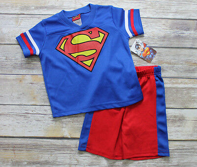 New Superman Blue Red Short Sleeve Shirt Shorts Set Outfit Size 2T NWT