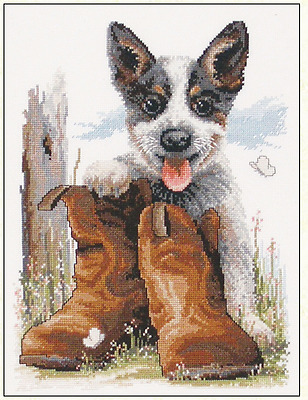 Country Threads Counted Cross Stitch Kit - Bluey's Boots - Fiona Jude FJ-1024