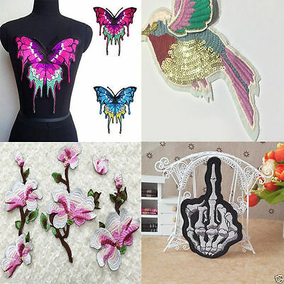 Embroidery Patch Birds Butterfly Animals Skull Finger Sew Iron On Colth Applique