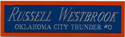 RUSSELL WESTBROOK NAMEPLATE AUTOGRAPHED Signed Basketball-JERSEY-PHOTO CASE