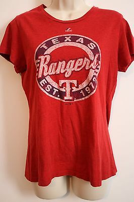 d8c6ddfaba6 MAJESTIC WOMENS RED Distressed MLB Texas Rangers Shirt LARGE ...