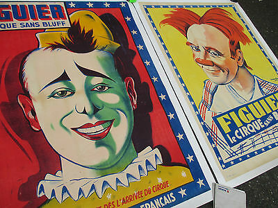 FRENCH CIRCUS antique clown poster litho vtg museum painting theatre cirque art
