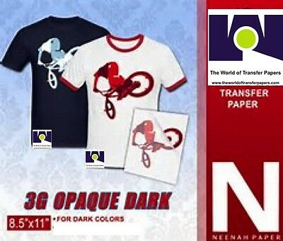 "HEAT TRANSFER PAPER 3G Opaque IRON ON DARK T SHIRT INKJET PAPER 25 PK 8.5""x11"""