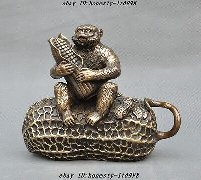 "8"" Chinese Fengshui Bronze peanut corn Wealth Lucky Zodiac Animal Monkey Statue"