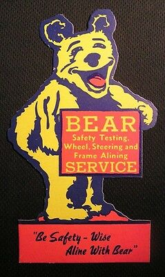 VINTAGE BEAR SERVICE WHEEL STEERING ALIGNING ADVERTISING CARD Sign Gas Station