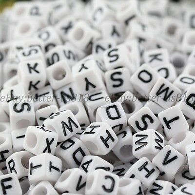 100Pcs Acrylic SINGLE LETTER A-Z White Cube ALPHABET 7MM Charms Loose BEADS