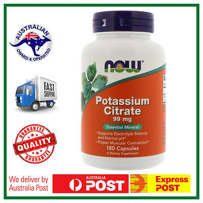 POTASSIUM CITRATE 180 Caps 99mg NOW Foods - Essential Mineral - CHEAPEST IN AUS