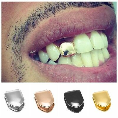 1PC Hip Hop Brass Metal Small Single Tooth Solid Grillz Cover Teeth Grill Punk