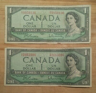 Lot of 2 - Canada 2 Banque du Canada One Dollar Notes Ottawa 1954
