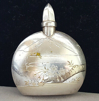 """Vintage Sterling Silver 950 Perfume Bottle 1-3/4"""" Tall 13.6 Gramms"""