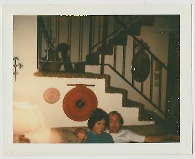 Vintage 70s Polaroid PHOTO Top View Of Couple In Living Room w/ Lamp Stairs