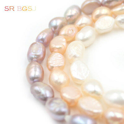 "Natural Freeform Freshwater Pearl Beads Jewelry Making Spacer Strand 15"" 7x9mm"