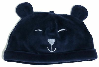 M&s Baby Boys Navy Blue Velvet Touch Soft Teddy Bear Hat Up To 1 Month
