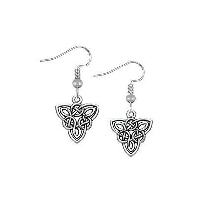 Irish Trinity Knot Triangle Pewter Vintage Triquetra Drop Earrings Ethnic